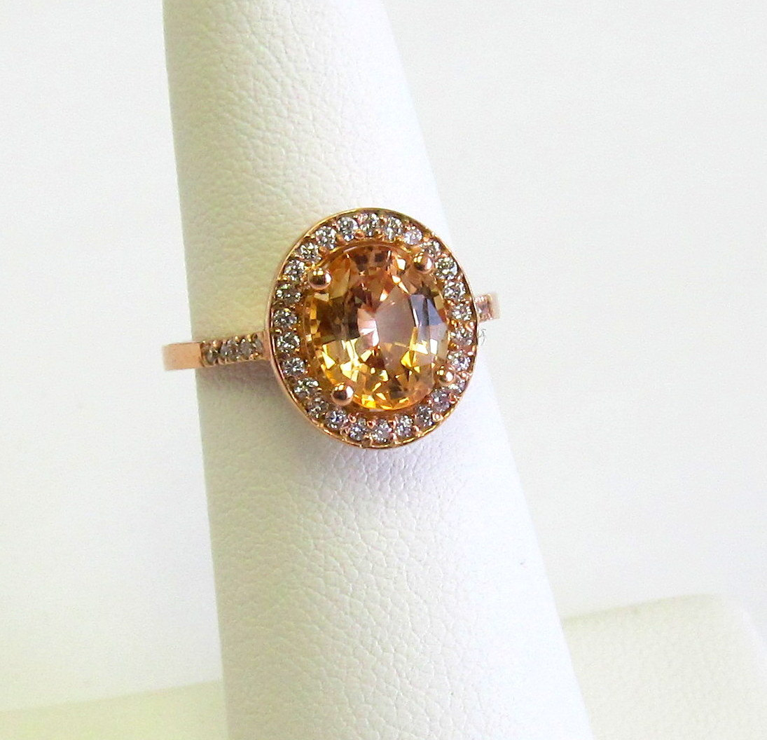 Peach champagne sapphire engagement ring220 ct oval ceylon gems peach champagne sapphire engagement ring220 ct oval junglespirit Choice Image